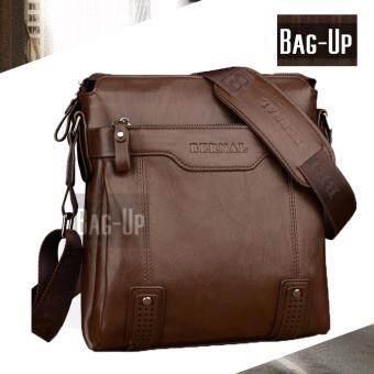 รีวิวพันทิป กระเป๋าสะพายข้างผู้ชาย Bag-Up รุ่น 1201 สีน้ำตาลอ่อน