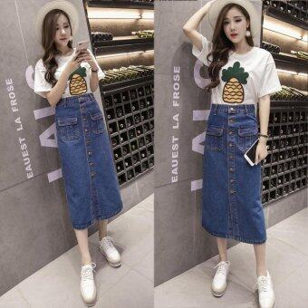BIGCAT High waist long paragraph skirt denim skirt - intl