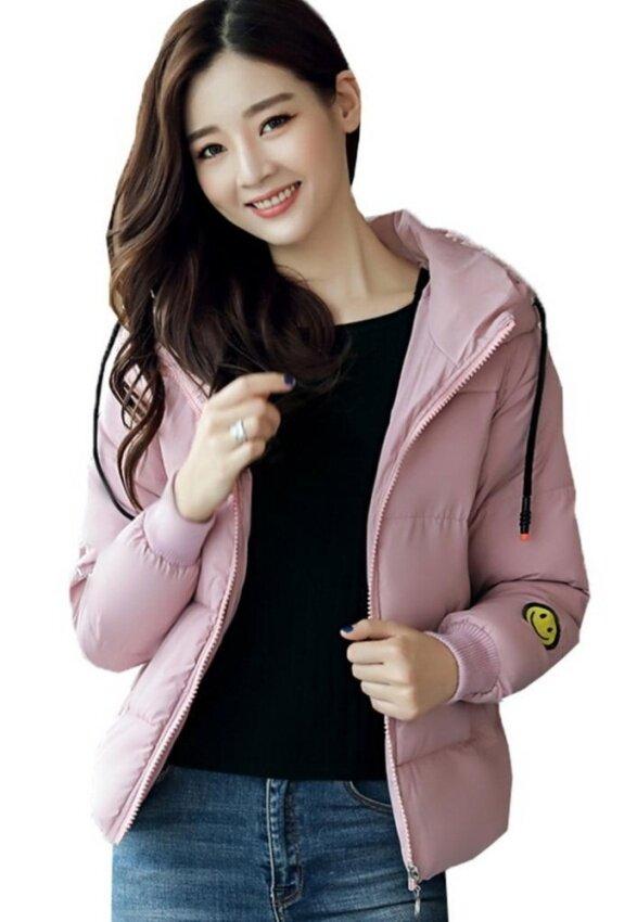 Bigood Thick Short Women Down Coat Ladies Smile Face Puffer Outwear Pink - intl