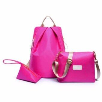 Harga Bingo Fashion 3-psc Backpack Waterproof Nylon Oxford Bags -Backpack / Shoulder Bag / Small Bag(Rose Red)