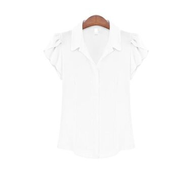 Blouses Shirts European style women's fashion temperament shirtshell sleeve new short-sleeved chiffon shirt - intl