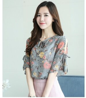Blouses Shirts Fashionable Chiffon Shirt Female Short Sleeve Sweet Sleeve Floral Shirt Loose Print - intl
