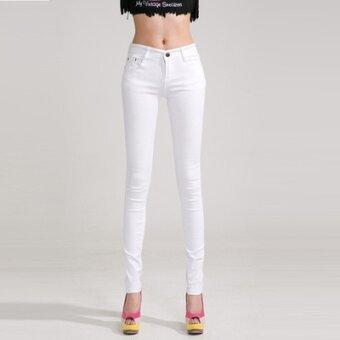 bottoming 1507099528 11002494 b4c875c9e56558e8cb2202bb04f305e4 product ยอดขาย กางเกงยีนส์สีหญิงผอมกางเกงดินสอ bottoming กางเกง  สีขาว