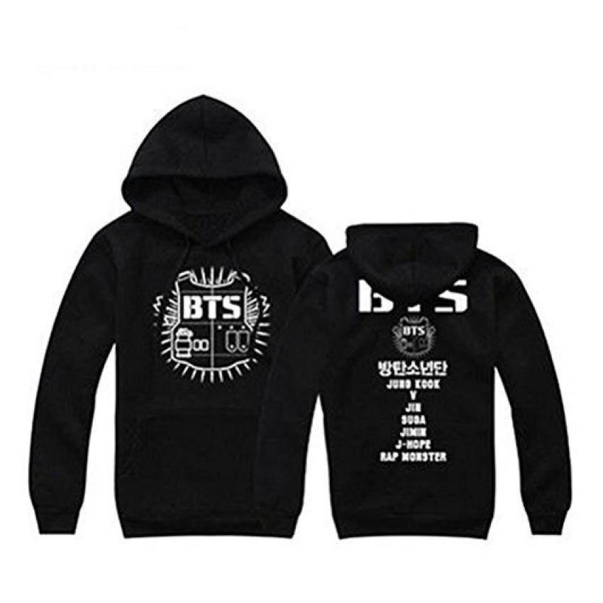 BTS (เด็กชายบังทัน) แบบสวมสเวตเตอร์ถัก Hoodie Hoodies (สีดำ)