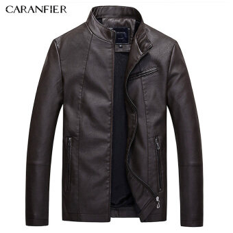 BYL caranfier Leather jackets Mens Casual Biker แจ็คเก็ต (BROWN)