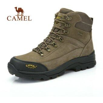 Camel Outdoor High-top Cow Leather Men's Hiking Mountaining ShoesWaterproof(Khaki) - intl