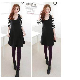 Harga candy it Summer O Neck long Sleeves Woman Stiching Woman Dress - intl