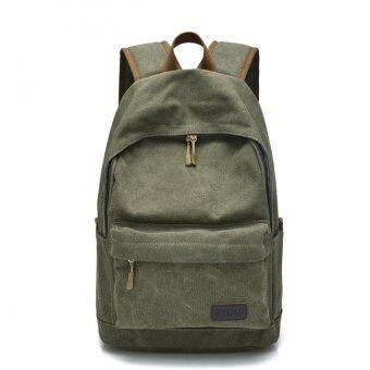 """Canvas Backpack Men Rucksack Bookbag for School Travel hiking and camping bag Olive"""""""