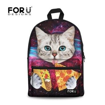 Canvas Women Galaxy Star Universe Print Backpacks Cute Animal Cat Children Girls School Bagpacks Kids Rucksack Mochila Escolar - intl