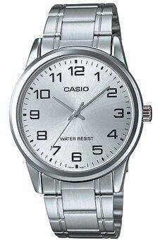 Casio Standard นาฬิกาข้อมือสุภาพบุรุษ สีขาว สายสแตนเลส รุ่น MTP-V001D-7BUDF