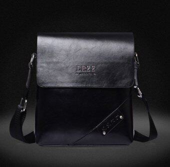 Harga Casual Crossbody Bag Genuine Cowhide Leather Satchel Bag MenBusiness Messenger Bags One Shoulder Bag (Black)