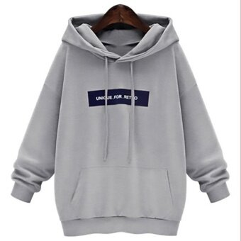 Casual Fashion Hooded Woman Letter Print Autumn Sweatershirt LongSleeve Hoodies Grey - intl