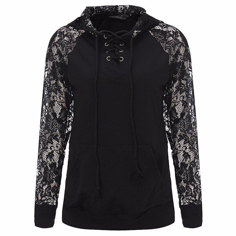 Casual Long Sleeve Pockets Hoody Solid Pullover Tops Plus Size ZANZEA 2016 Autumn Women Sexy Lace Patchwork Hoodies Sweatshirts - intl