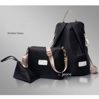 กระเป๋าเป้ กระเป๋าสะพายข้างสีดำ กระเป๋าเซ็ท 3 ใบNo.111(Black)