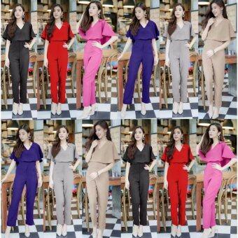 Charming จั๊มสูทคลุมไหล่กางเกงขายาว สวยหรู (สีชมพู) รุ่น J102 - 2