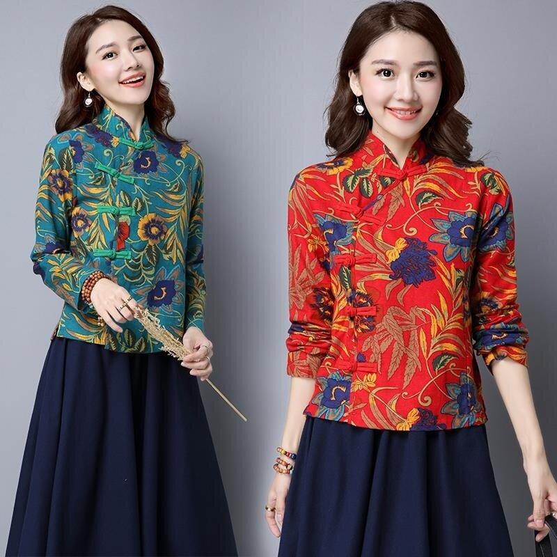 ลมชาติผอมบางแขนสั้นผ้าฝ้ายเสื้อ cheongsam (สีแดง)