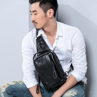 Chest pack mens messenger bag Korean tide casual pockets student male bag sports shoulder backpack men small bag summer (Black) - intl