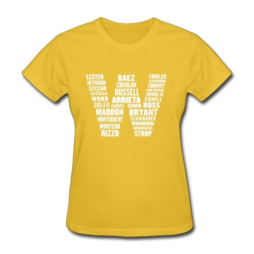 Chicago Cubs W Flag Names Womens T Shirt Formal Memorial Day Print Own T-Shirt Woman Outfits Natural Cotton Yellow - intl