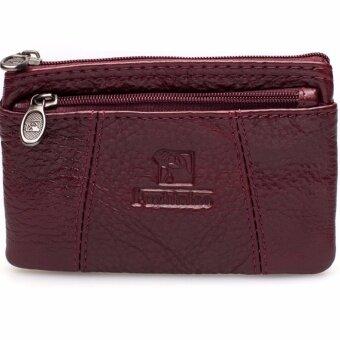 Chinatown Leather กระเป๋าหนังแท้รุ่น ใส่นามบัตร เหรียญ กุญแจ ซิปบน – สีแดง