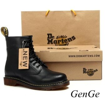 Classic British Fashion Martin Shoes. Mens Womens Leather Shoes Retro Martin Boots Selling black - intl