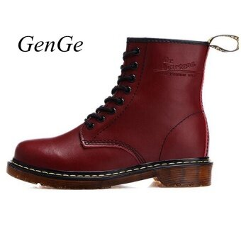 Classic British Fashion Martin Shoes. Mens Womens Leather Shoes Retro Martin Boots Selling Red - intl