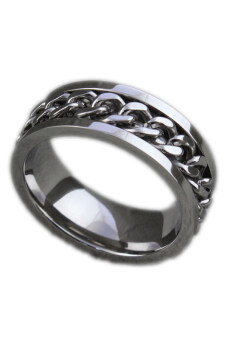 Classic Mens Curb Chain Center Stainless Steel Band Ring 8Mm Silver-9 Silver