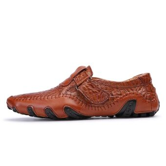 CLZQ Men Genuine Leather Breathable Business Shoes (Brown) - intl - 2