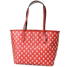COACH 38161 CITY ZIP TOTE IN BADLANDS FLORAL PRINT COATED CANVAS Red