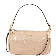 COACH 56518 TOP HANDLE POUCH IN SIGNATURE DEBOSSED PATENT LEATHER GOLD