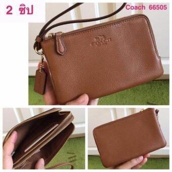 Harga COACH 66505 กระเป๋าคล้องมือ Double Corner Zip Wristlet PebbleLeather Saddle