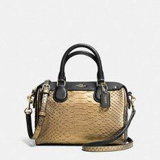 Coach กระเป๋าสะพาย BABY BENNETT SNAKE-EMBOSSED LEATHER SATCHEL GOLD F36657