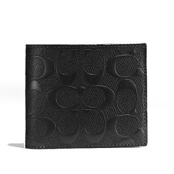COACH กระเป๋าสตางค์ COMPACT ID WALLET IN SIGNATURE CROSSGRAINLEATHER F75371 (BLACK)
