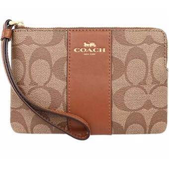 Harga COACH CORNER ZIP WRISTLET IN SIGNATURE F58035 (IM/LightKhaki/Saddle)