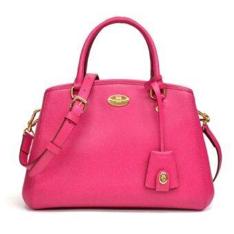 COACH CROSSGRAIN LEATHER MINI MARGOT BAG 34835 Pink Ruby