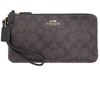 Harga COACH DOUBLE ZIP WALLET IN SIGNATURE F54057 (GOLD/BROWN/BLACK)