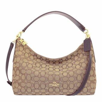 COACH กระเป๋า EAST/WEST CELESTE CONVERTIBLE HOBO IN OUTLINE SIGNATURE F58284 IMC7C (IM/KHAKI/BROWN)