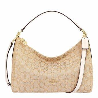 COACH กระเป๋า EAST/WEST CELESTE CONVERTIBLE HOBO IN OUTLINE SIGNATURE F58284 IMDQC (IM/LIGHT KHAKI/CHALK)
