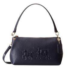 COACH Embossed Horse and Carriage Charley Crossbody in Pebble Leather 33521 - Navy