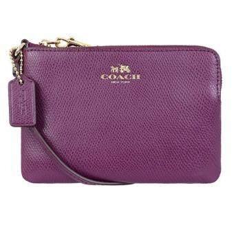 Harga COACH F53429 CORNER ZIP WRISTLET IN CROSSGRAIN LEATHER (PLUM)
