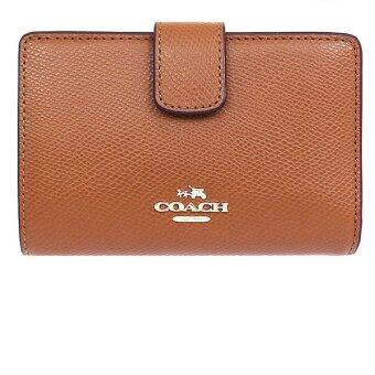 Harga COACH F53436 MEDIUM CORNER ZIP WALLET IN CROSSGRAIN LEATHER(Saddle)