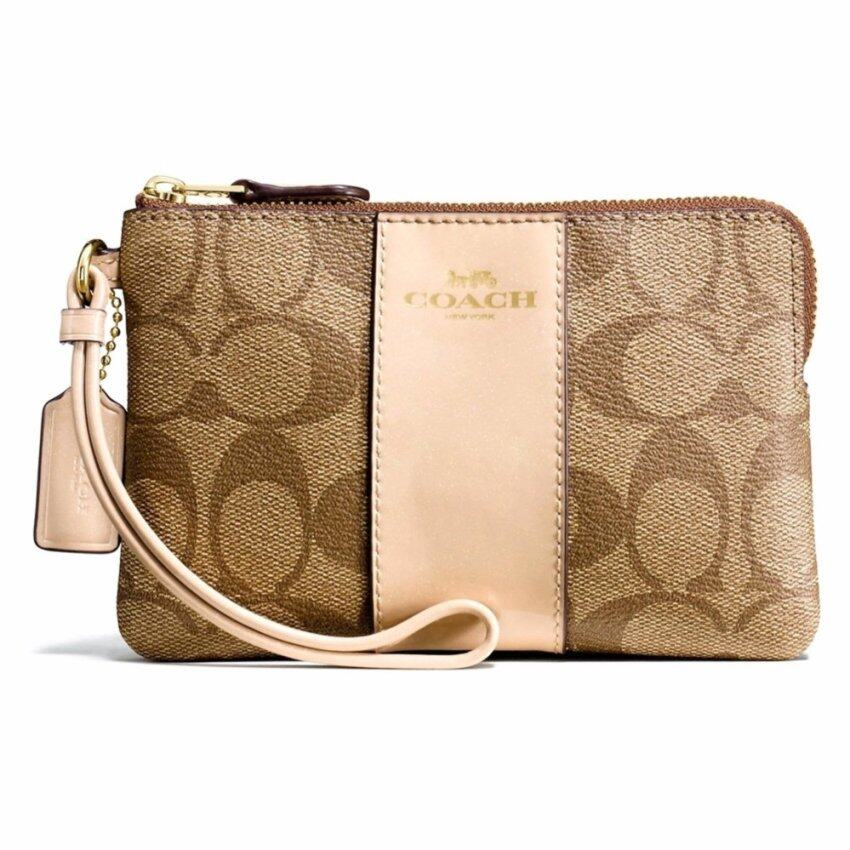 c30f08d016394 กระเป๋าคล้องมือ COACH F54629 CORNER ZIP WRISTLET IN SIGNATURE COATED CANVAS  WITH LEATHER STRIPE (