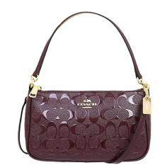 COACH F56518  TOP HANDLE POUCH IN SIGNATURE DEBOSSED PATENT LEATHER  (Black)