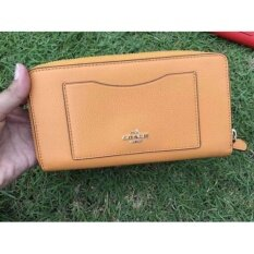 Coach long wallet Leather #F58411E Orange Peel