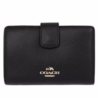 Harga COACH MEDIUM CORNER ZIP WALLET IN CROSSGRAIN LEATHER F53436 (BLACK)