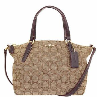 COACH กระเป๋า MINI KELSEY SATCHEL IN OUTLINE SIGNATURE F57830 IMC7C (IM/ KHAKI/BROWN)