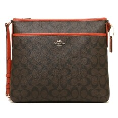 Coach กระเป๋าสะพาย SIGNATURE MESSENGER FILE BAG CROSSBODY HANDBAG BROWN CARMINE F34938