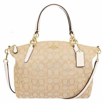 COACH กระเป๋า SMALL KELSEY SATCHEL IN OUTLINE SIGNATURE F58283 IMDQC (IM/LIGHT KHAKI/CHALK)