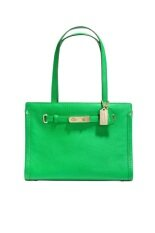 COACH SWAGGER SMALL TOTE IN POLISHED PEBBLE LEATHER รุ่น 34915 - Green