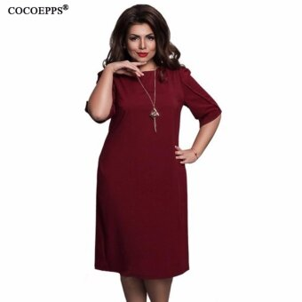 COCOEPPS fashionable loose women dresses big sizes NEW 2017 plussize women clothing half sleeve vestidos casual o-neck dress - intl