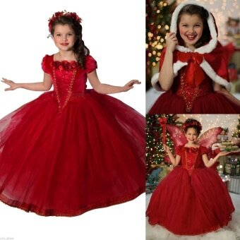 (Color:Red ) Frozen Kids Girls Dresses Costume Snow White Princess Party Fancy Dress + Cape - intl